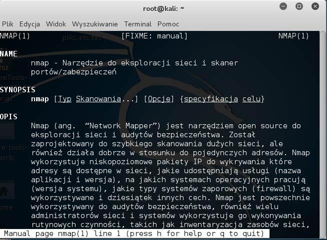 man nmap i instrukcja po polsku