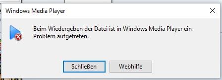 Fehlermeldung im Windows Media Player für eine Datei mit falschem Format