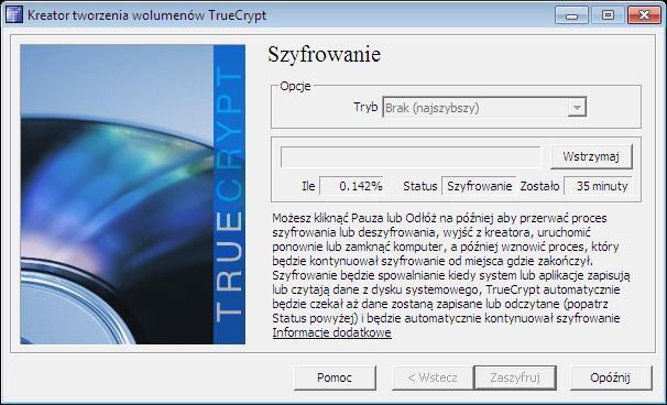 Wznawianie procesu szyfrowania TrueCrypt