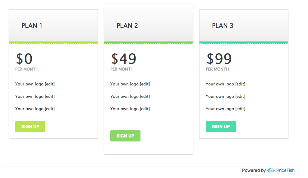 Clean white sample pricing page