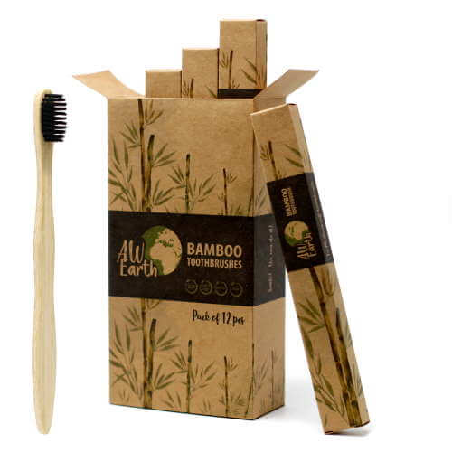 bamboo toothbrush - charcoal medium soft