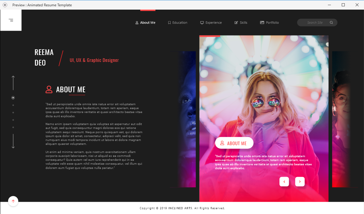 resume web xd template