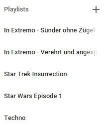 Beispiel für eigene Playlists in Google Play Music.