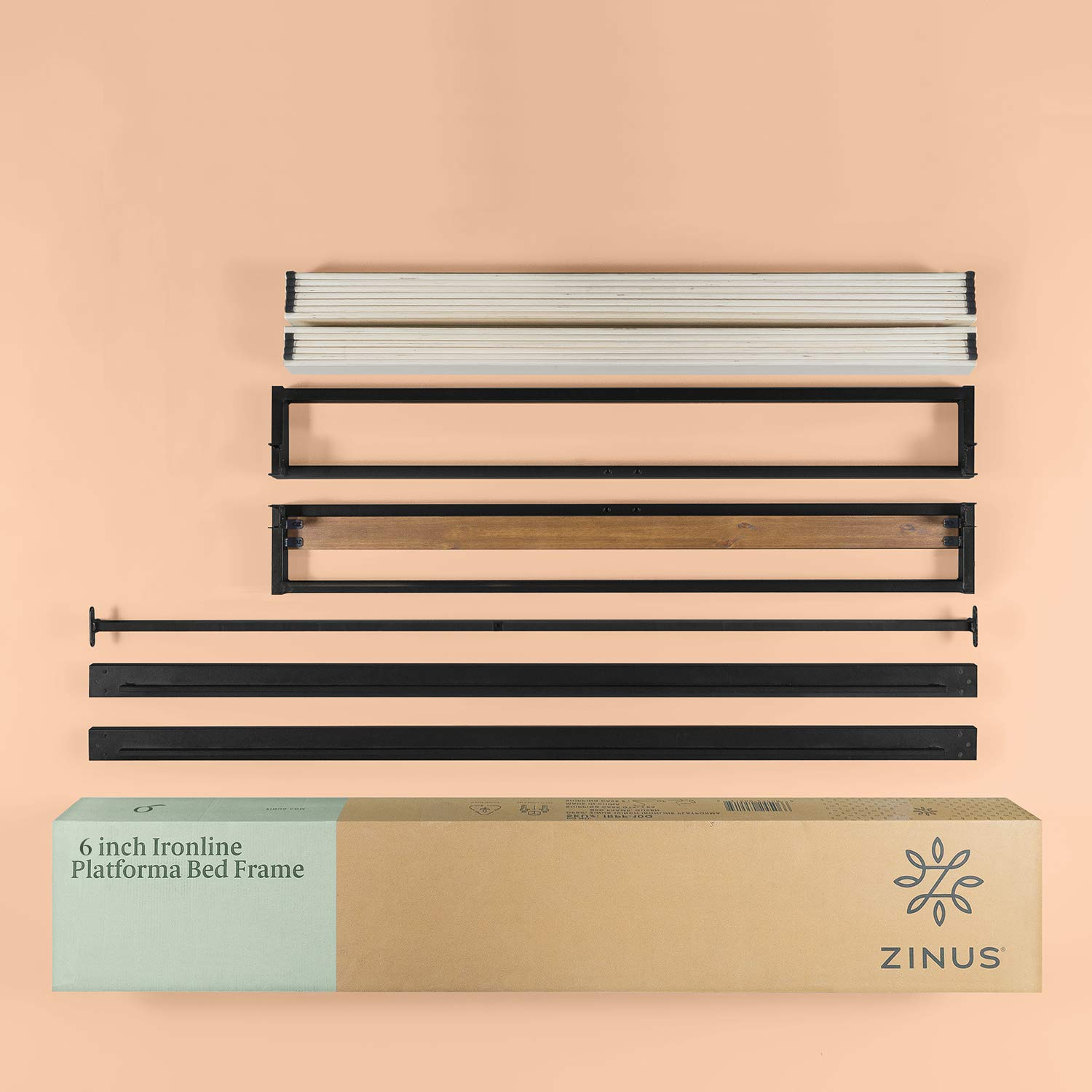 Zinus-Industrial-Metal-Wood-Bed-Frame-Single-Double-Queen-King-Low-Base-Mattress thumbnail 14