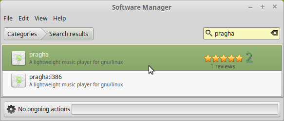Click on the pragha button in Software Manager
