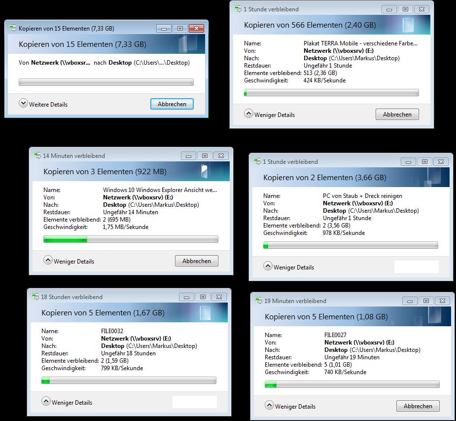 Mehrere Status-Fenster beim Kopieren in Windows 7 - umständlich nebeneinander platziert und über den ganzen Bildschirm verteilt
