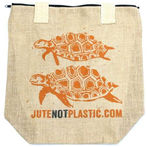 eco jute bag - two turtles (orange)