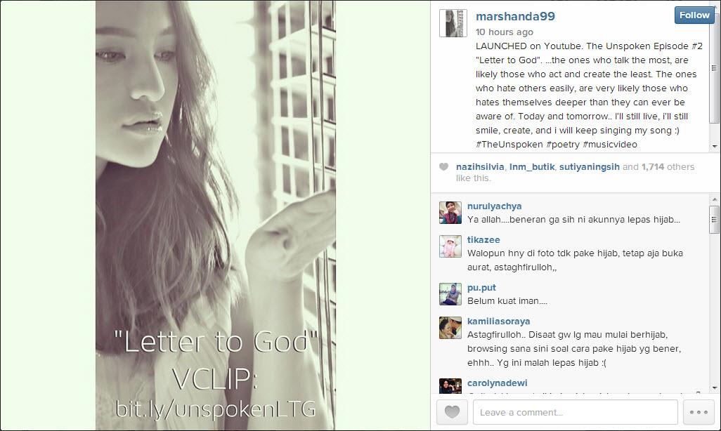 Instagram dari Marshanda yang mempromosikan video lepas jilbabnya