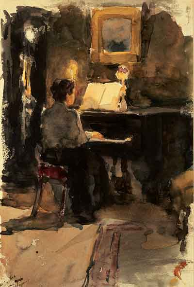 Leonid Pasternak  Mujer al piano Acuarela