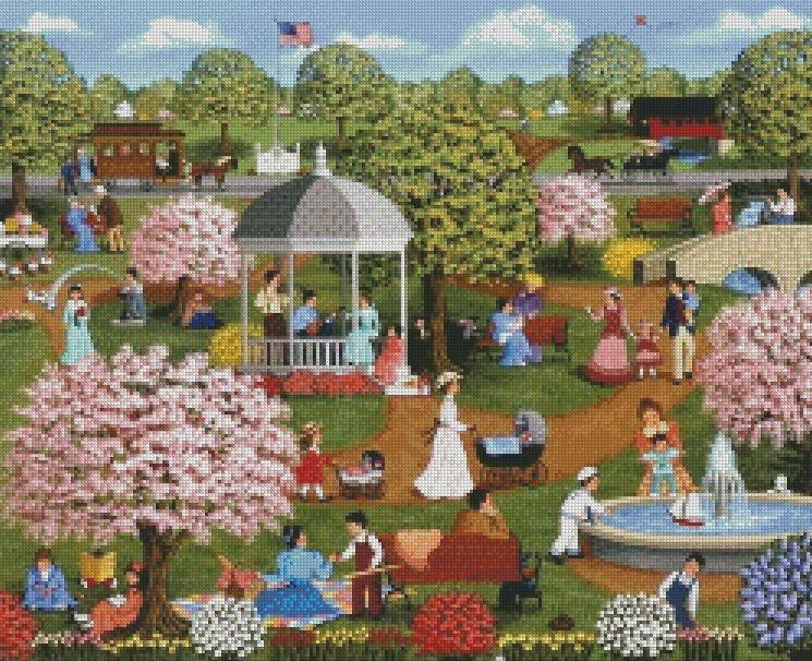 Sheila Lee cross-stitch - Mothers Day at the Park