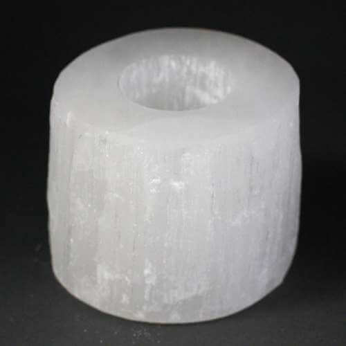 selenite candle holder - small