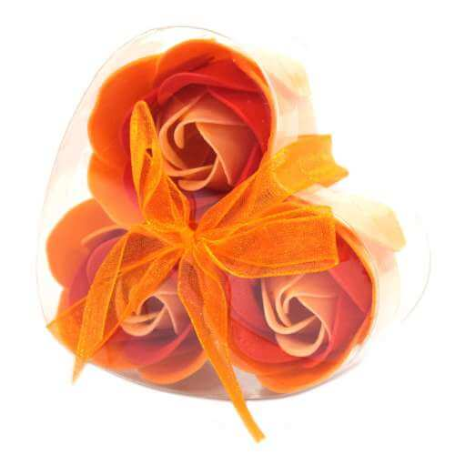 set of 3 soap flowers - peach roses