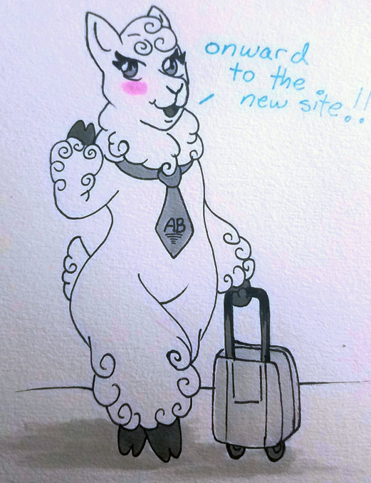 a drawing of a cartoonish alpaca waving at the screen with one hand and a suitcase in the other hand, saying 'onward to the new site!'