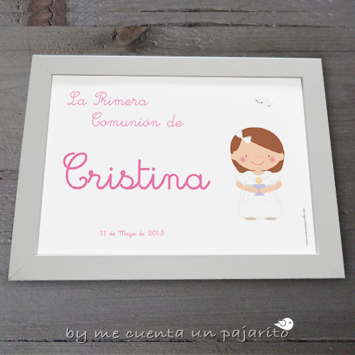 Lámina personalizada de Primera Comunión niña