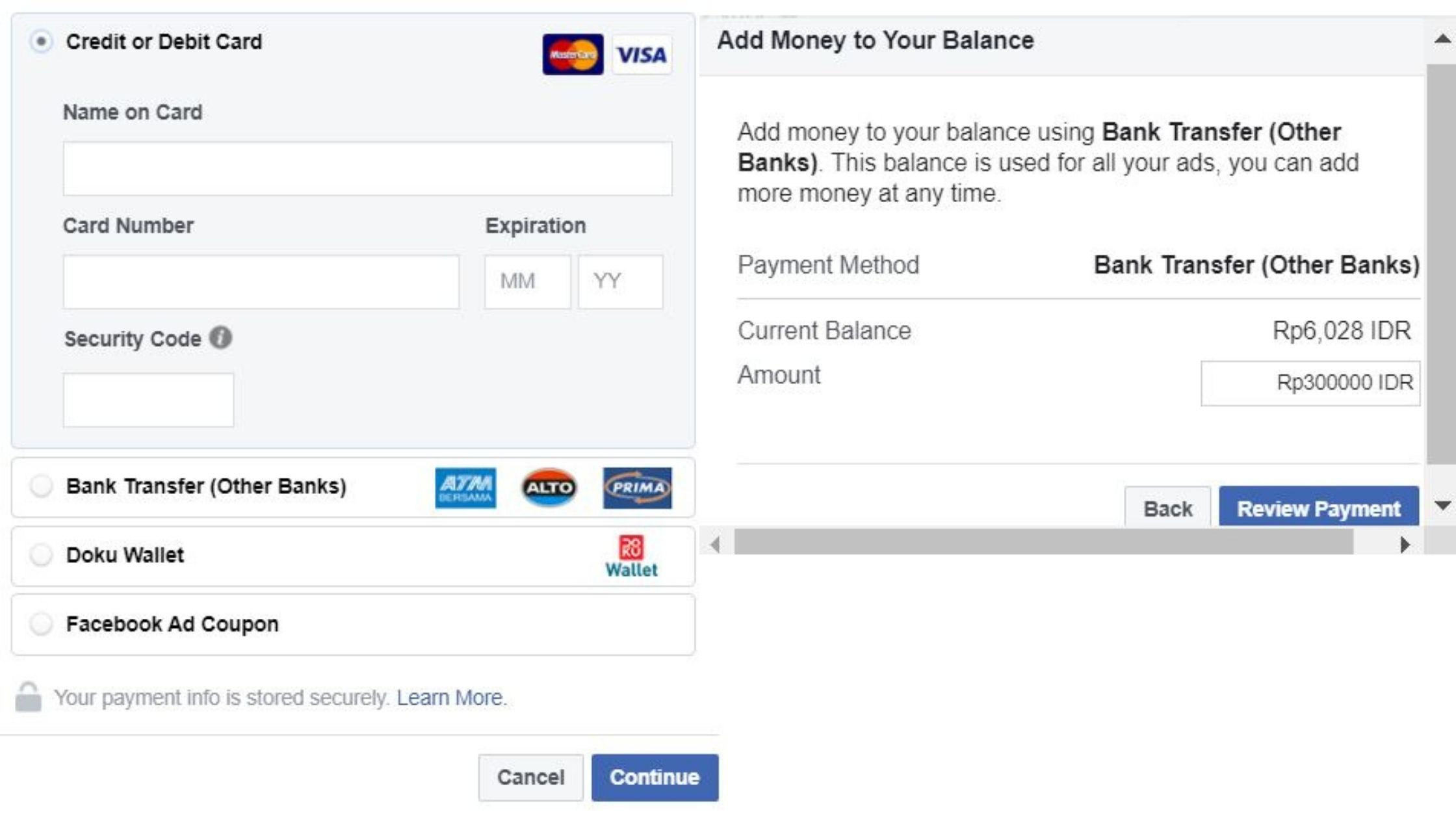 cara bayar facebook ads