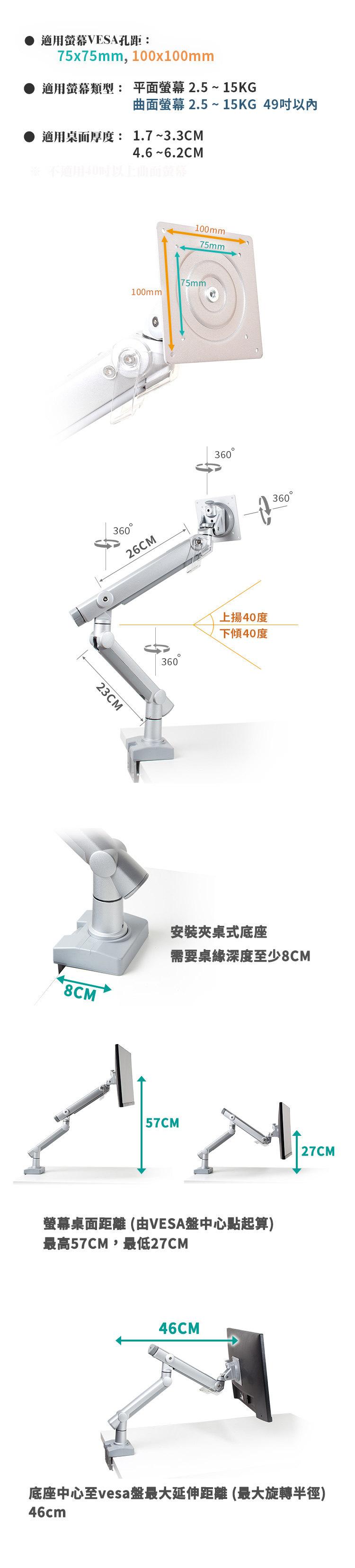 適用VESA75及100,多動向,可旋轉,可轉90度直式