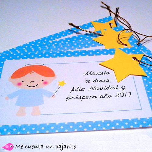 Tarjeta felicitación personalizada de Navidad ángel y estrella