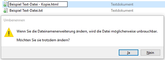 Dateiformat ändern zur Verwendung einer Text-Datei als HTML-Newsletter - mit Hinweis-Meldung im Windows Explorer