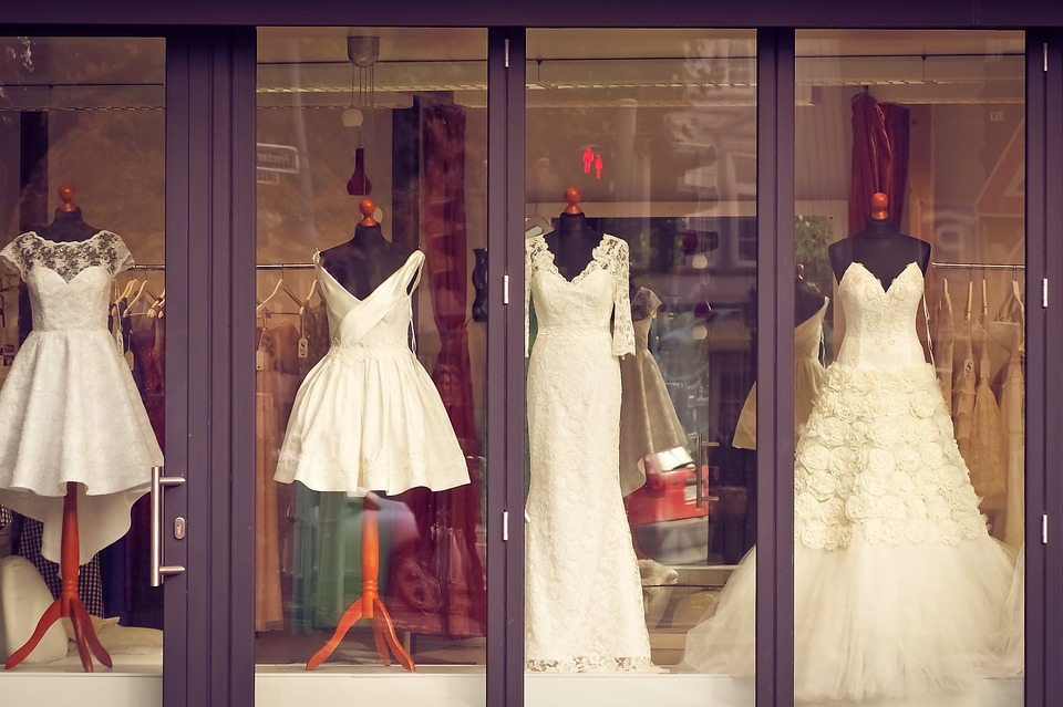 Wedding dresses in window