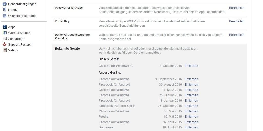 Liste der verbundenen Geräte in Facebook - mit der Möglichkeit zum Entfernen der Zugriffe.