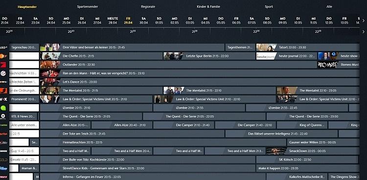 In der Programm-Übersicht hat man - unterteilt nach Sender-Genre - verschiedene Senderim Überblick und kann diese nach Datum und Uhrzeit durchstöbern.