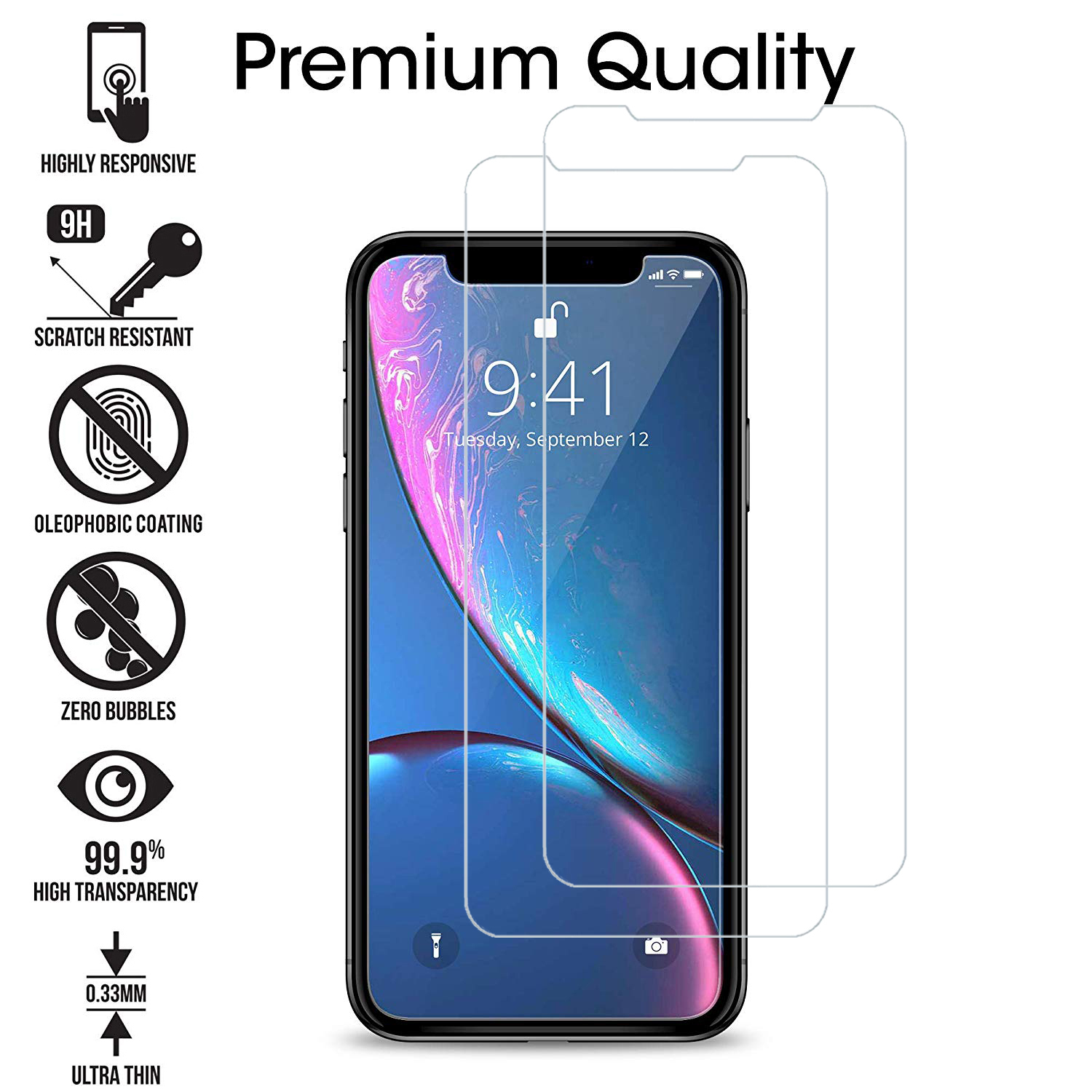 thumbnail 14 - Leather Flip Wallet Case Tempered Glass Cover For iPhone 11 Pro Max XS XR 8 7 6s