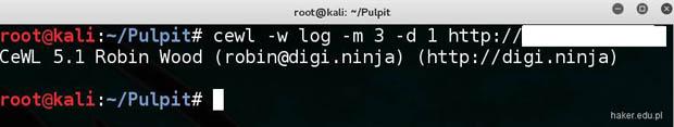 Parametry programu cewl (output file, depth, max letter i URL).