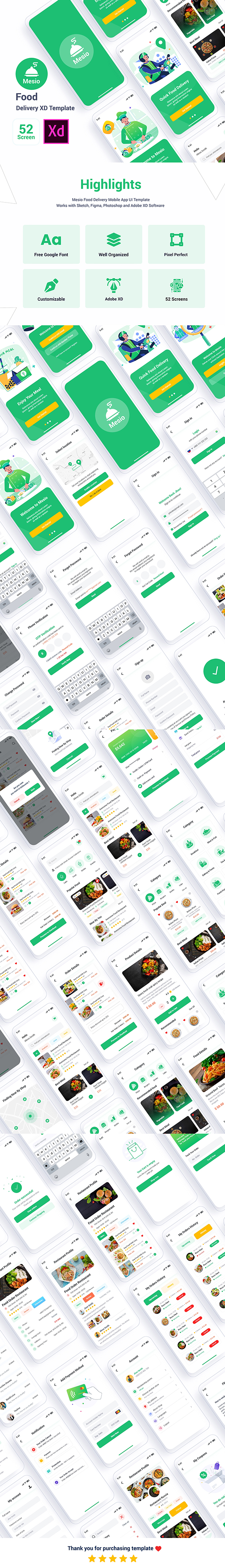 Mesio - Food Delivery Adobe XD Template - 1