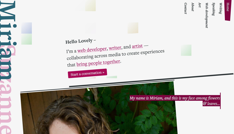 Screenshot of miriamsuzanne.com