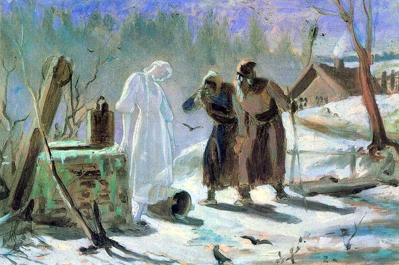 Василий Перов. Тающая Снегурочка. Эскиз, 1879 г