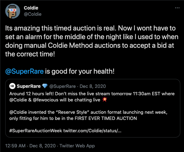 Coldie is glad to not wake up in the middle of the night to check auctions