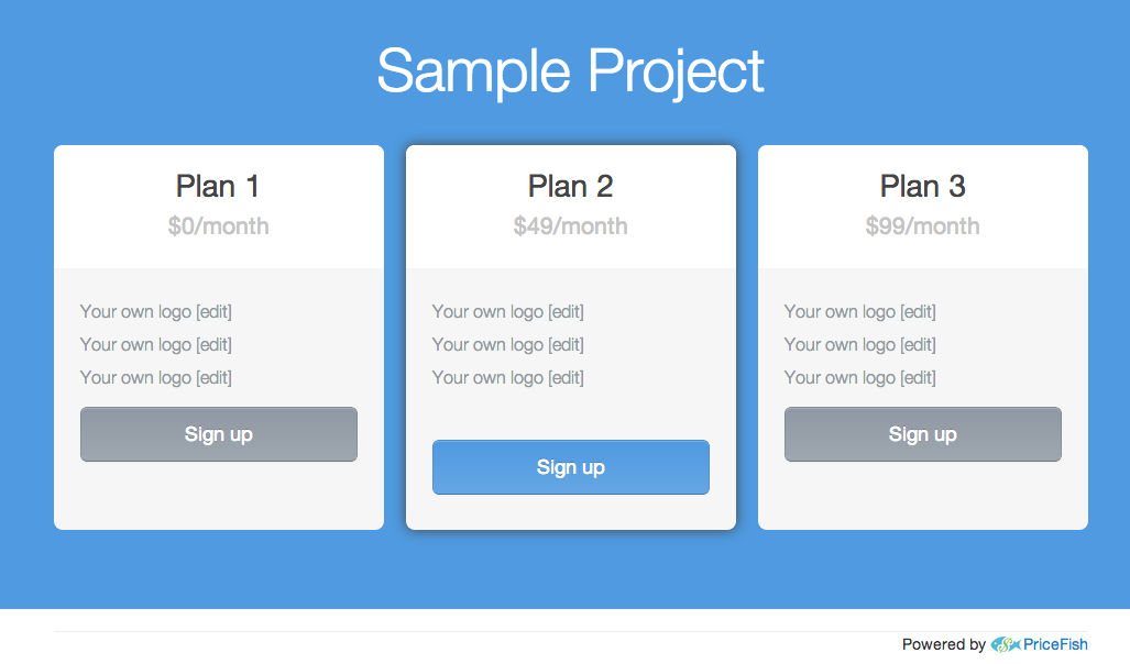 Blue background pricing page
