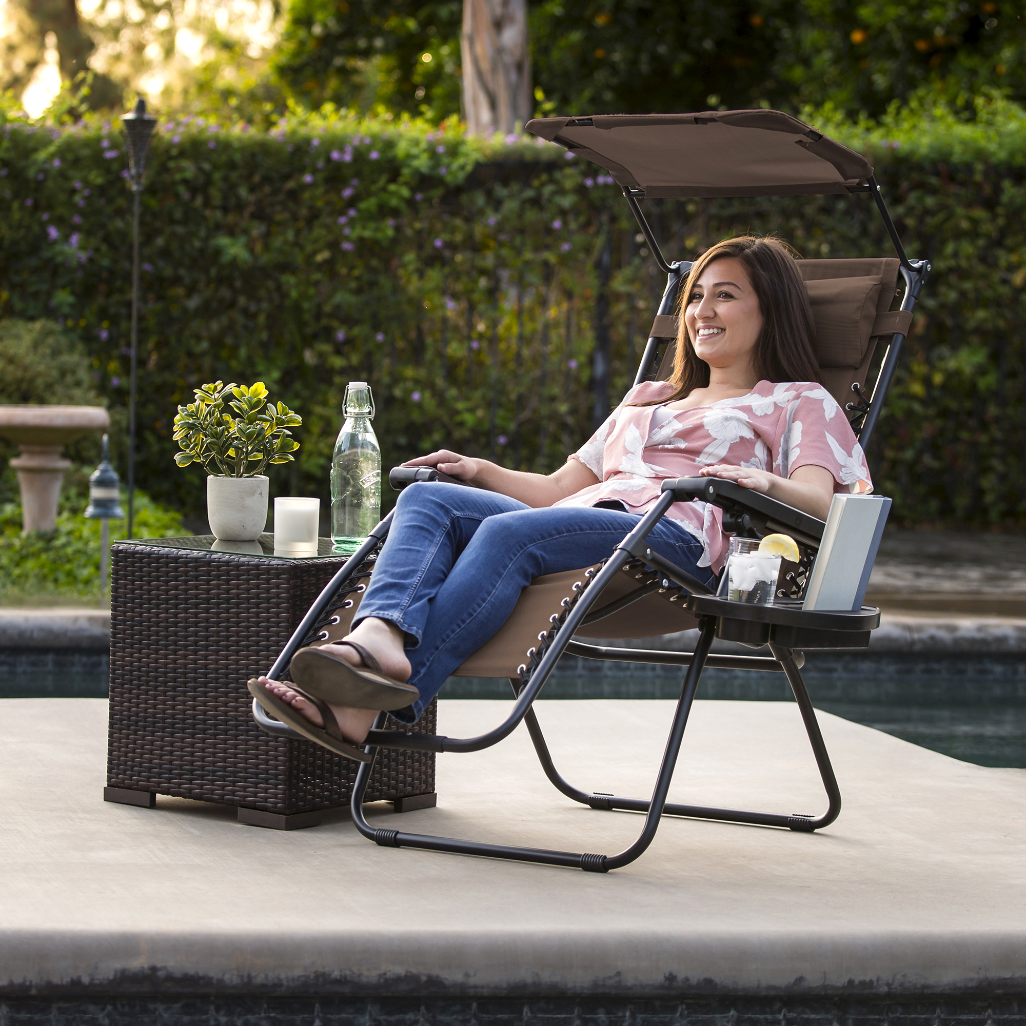 BCP-Folding-Zero-Gravity-Recliner-Lounge-Chair-w-Canopy-Cup-Holder thumbnail 23