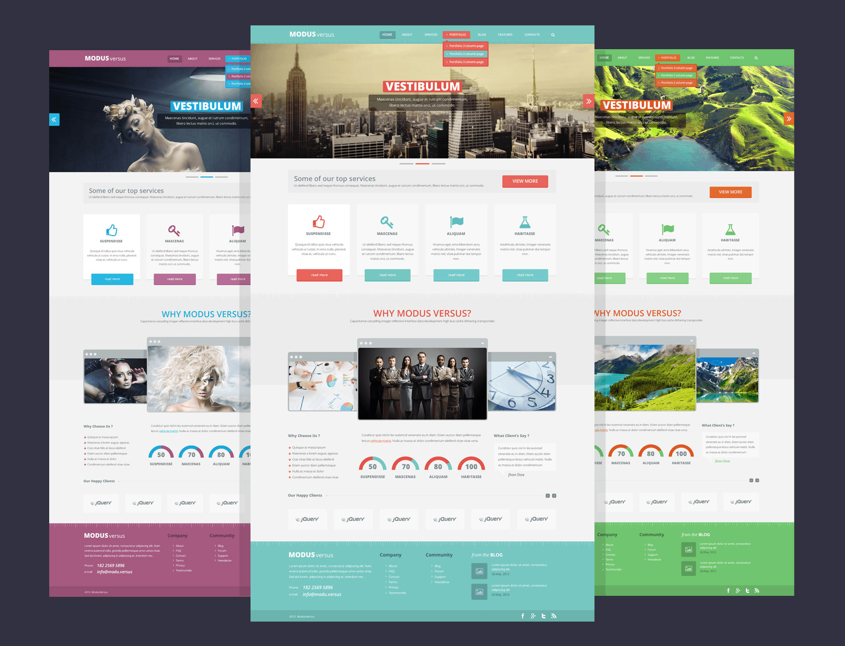 Modus Versus free website photoshop template