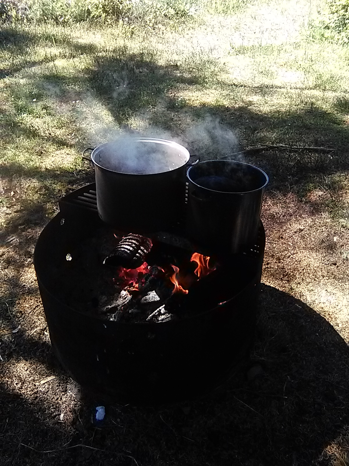 Two pots of ocean water sit on a grate over the campfire