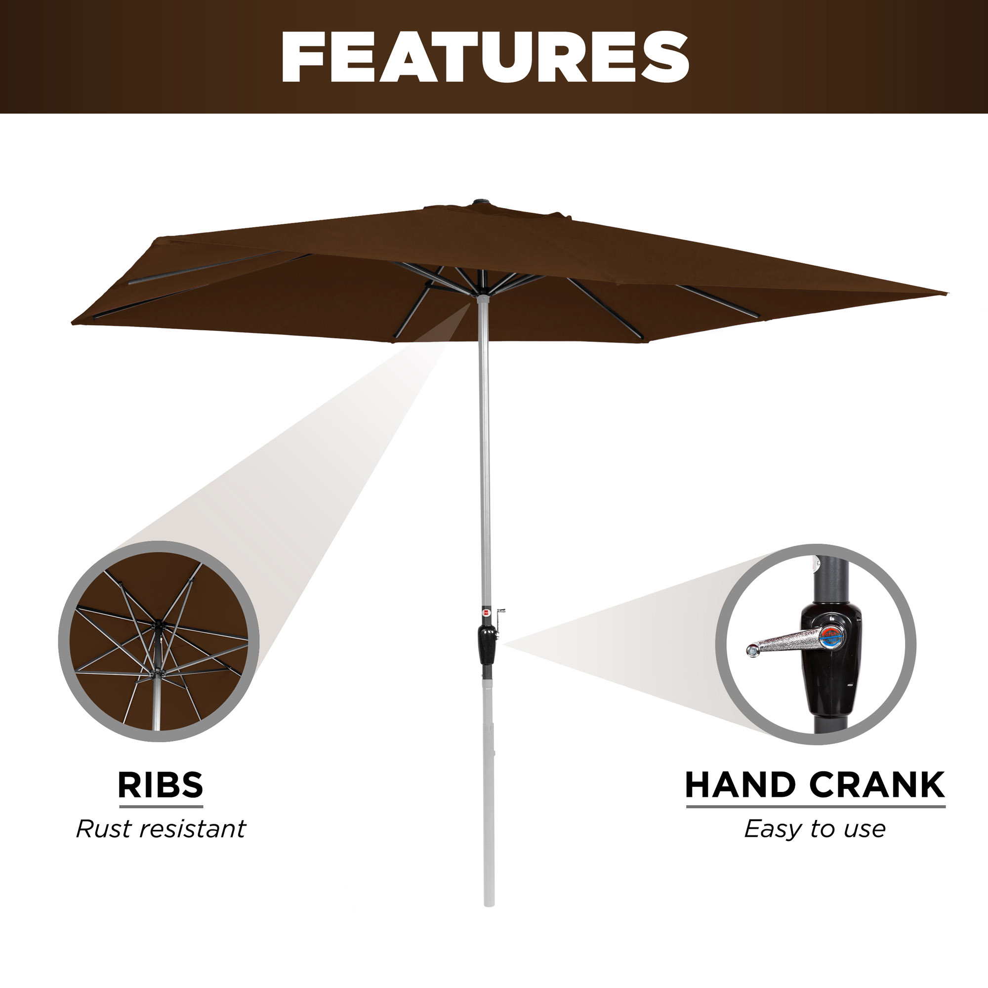 BCP-8x11ft-Rectangular-Patio-Umbrella-w-Easy-Crank-UV-Resistant-Fabric thumbnail 12