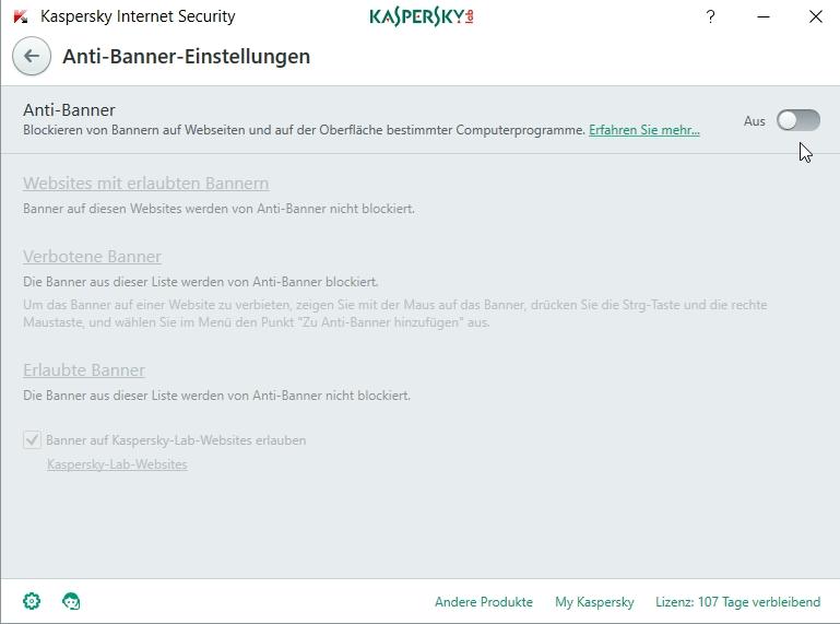 Die Anti-Banner-Funktion in Kaspersky Internet Security lässt sich notfalls komplett deaktivieren.