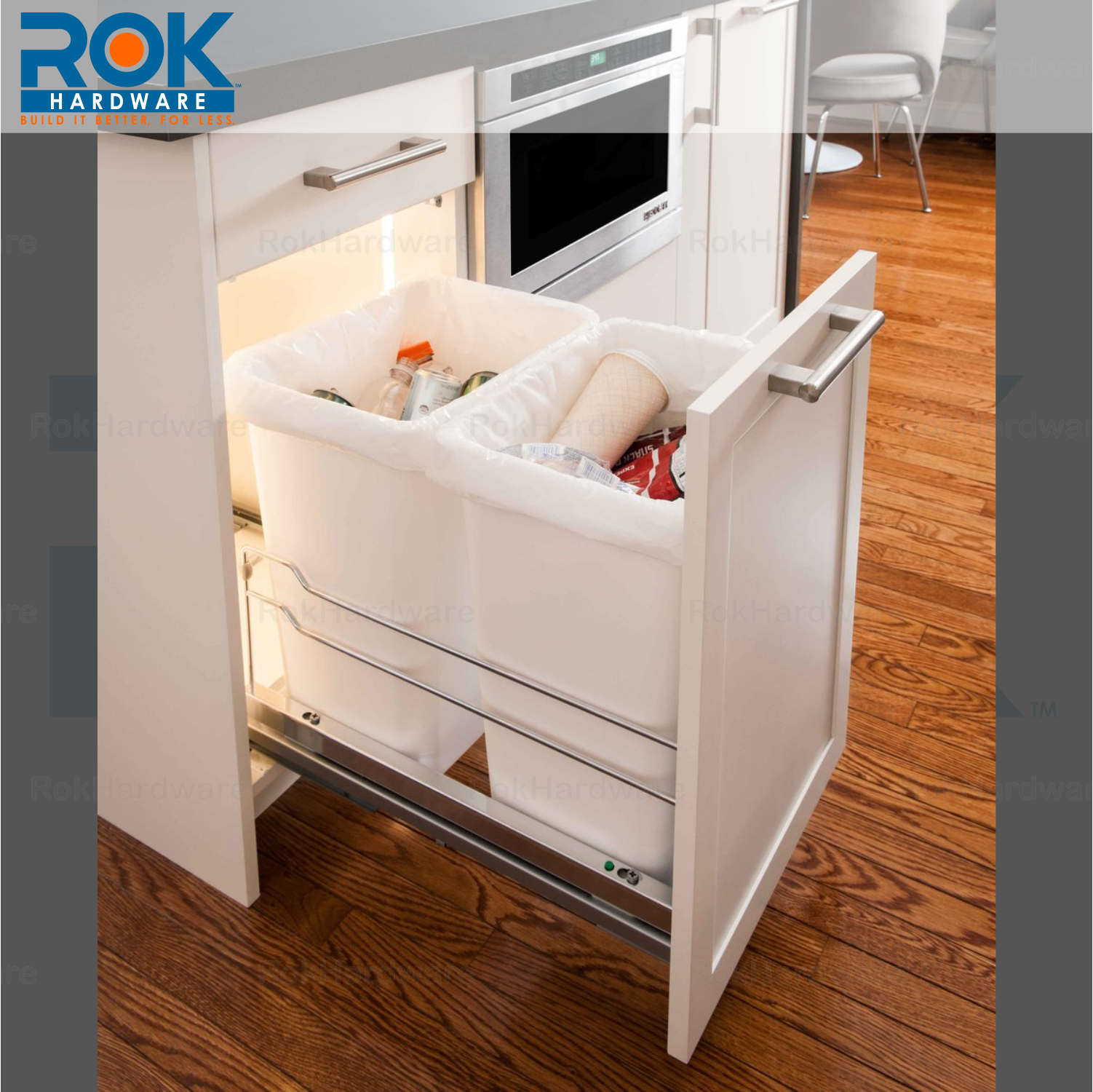 rok kitchen cabinet trash and recycling center for dual waste bins 2x 36 quart 600346745612 ebay. Black Bedroom Furniture Sets. Home Design Ideas