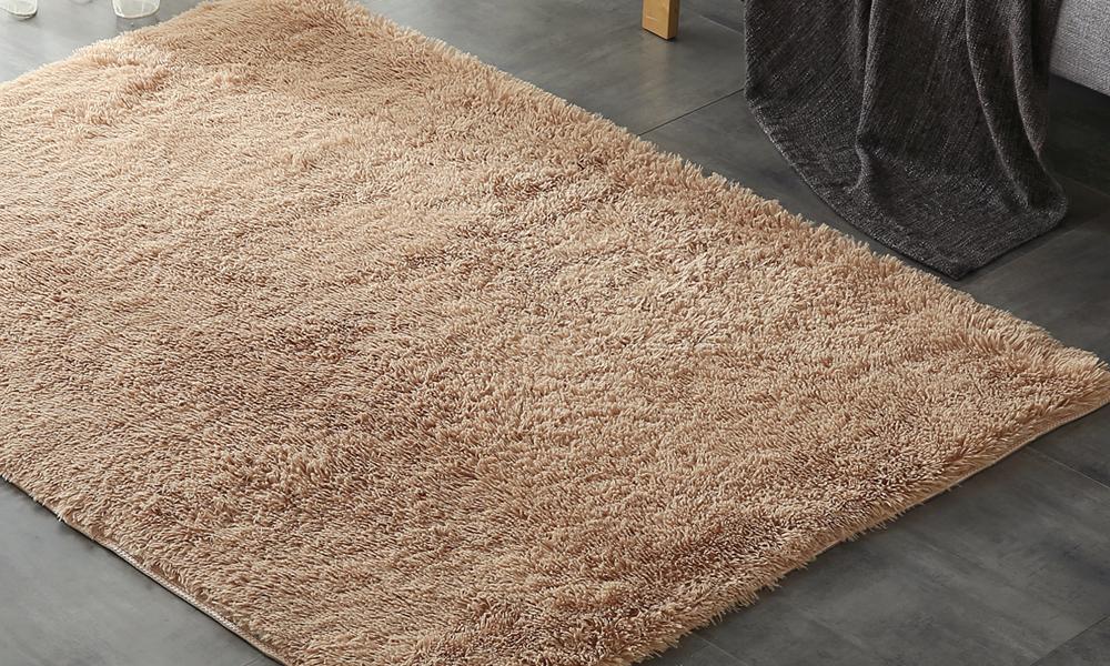 New Designer Shaggy Floor Confetti Rug Tan 80x120cm