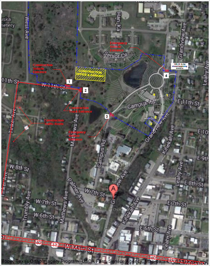 Updated Campus Construction Zone Map