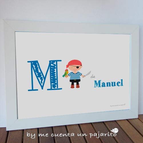 Lámina del pirata niño y el loro personalizada con el nombre del niño