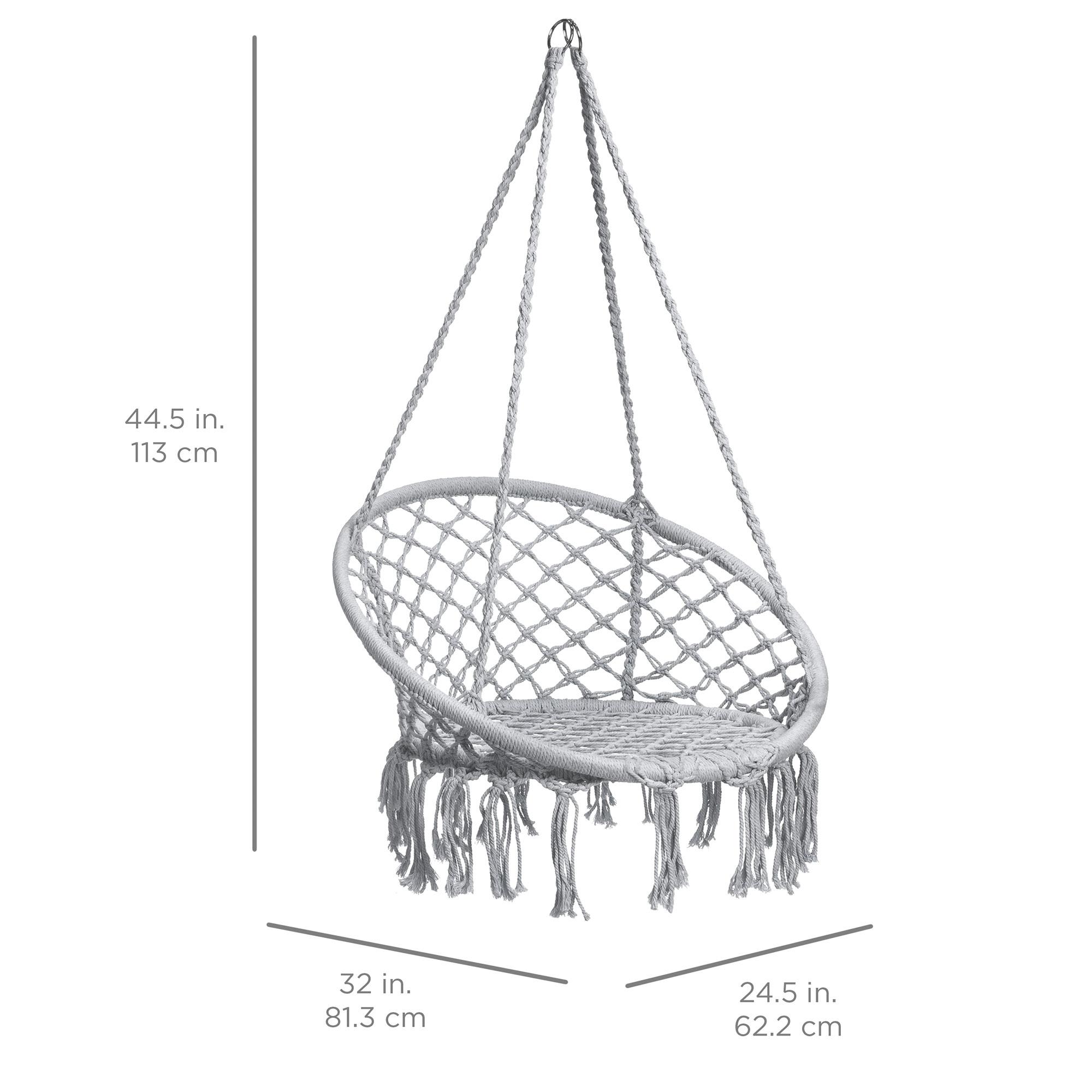 BCP-Handwoven-Cotton-Macrame-Hammock-Hanging-Chair-Swing-w-Backrest thumbnail 28