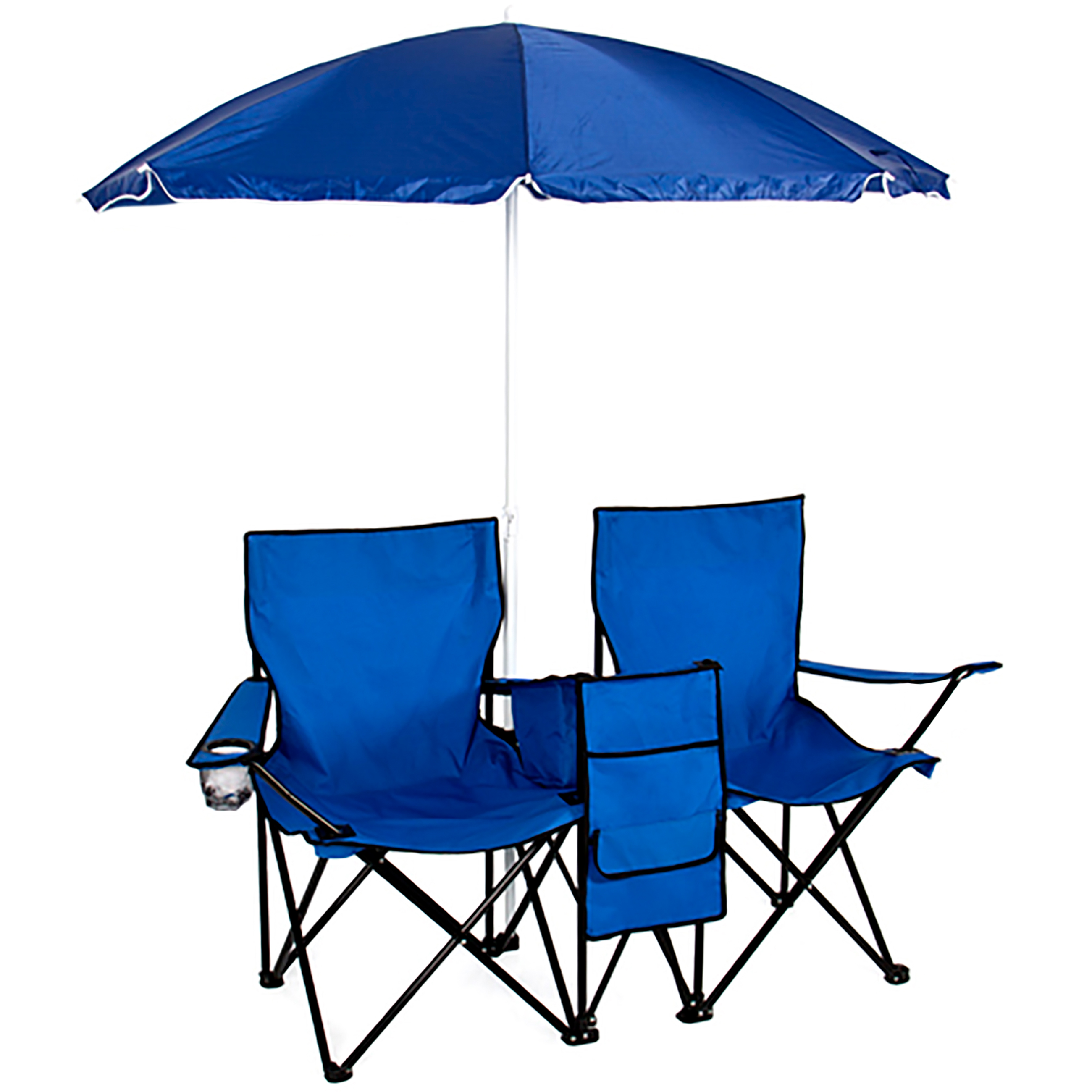 Bcp Folding Outdoor Double Chair W Removable Umbrella
