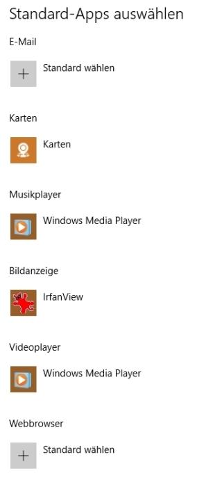 Standard-Apps vor dem Update: eigene Programme korrekt zugeordnet