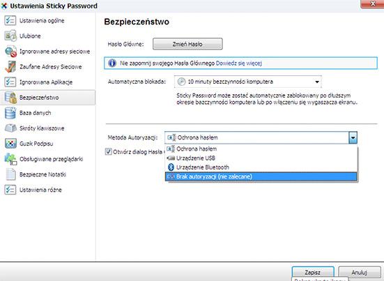 metody autoryzacji portfela haseł (usb lub bluetooth)