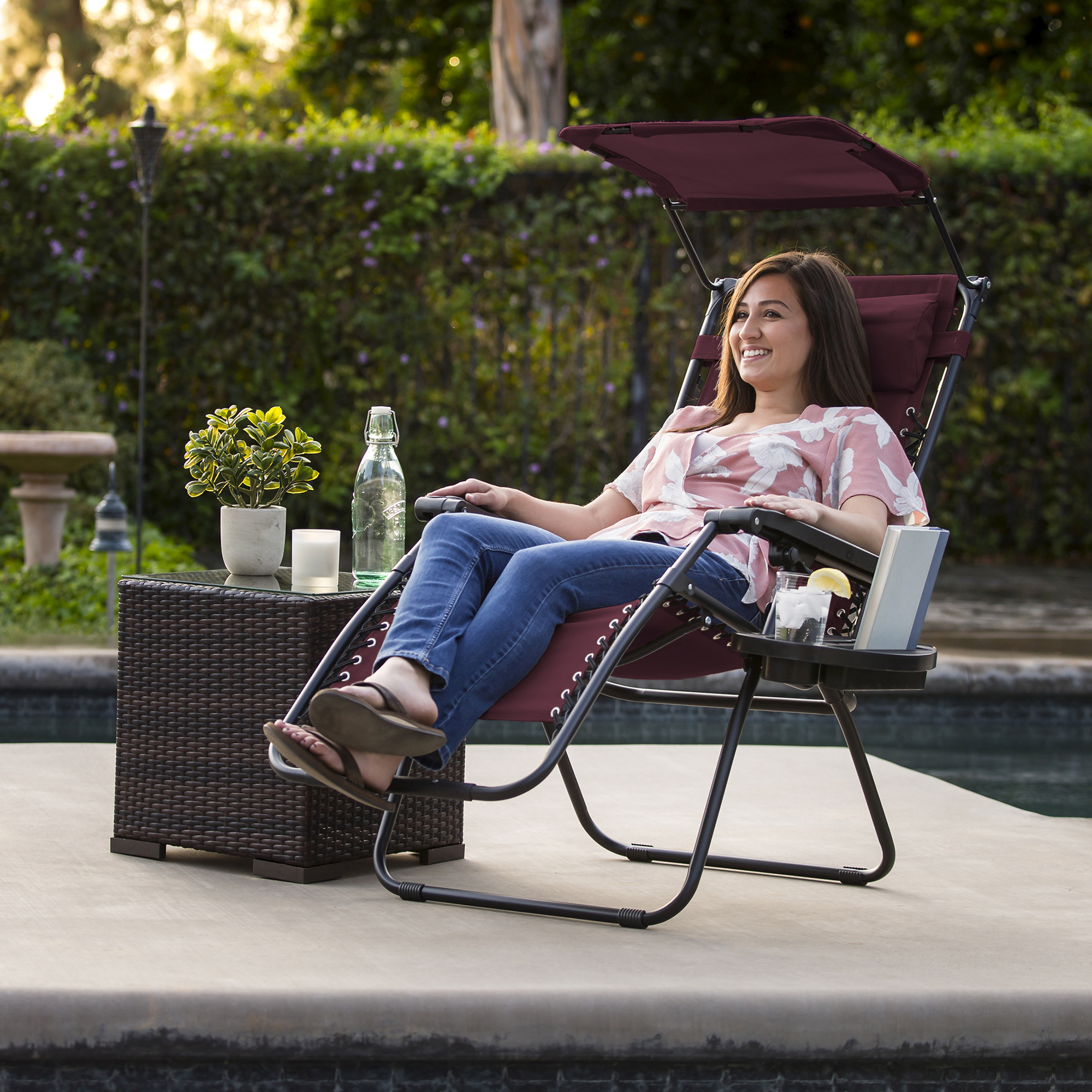 BCP-Folding-Zero-Gravity-Recliner-Lounge-Chair-w-Canopy-Cup-Holder thumbnail 30