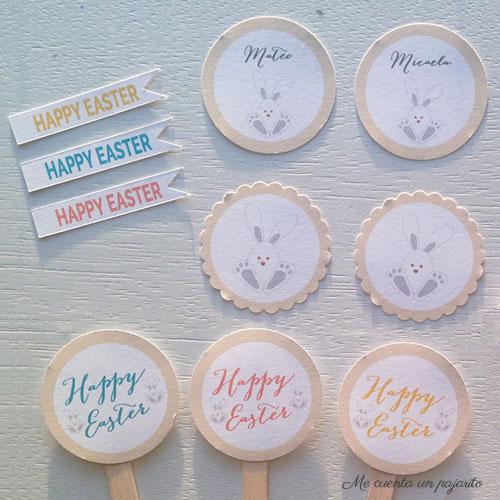 Banderitas, etiquetas y toppers Happy Easter con conejo