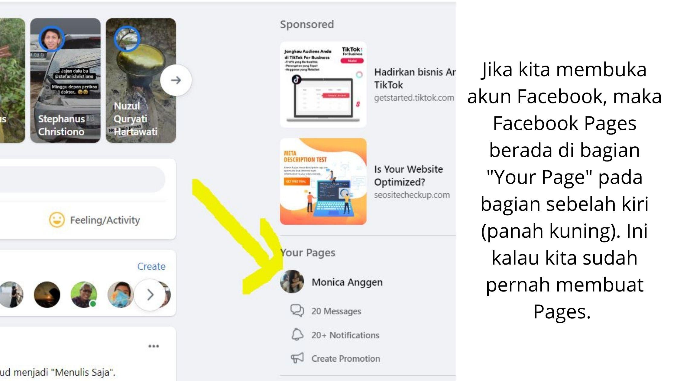 Facebook Ads menggunakan Facebook Pages