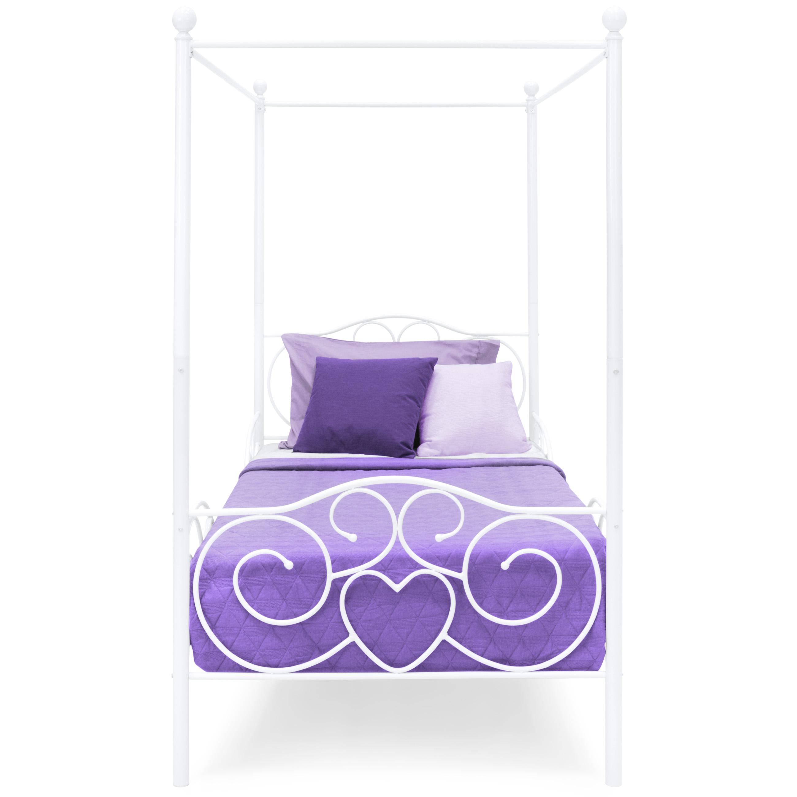 bcp metal canopy twin bed frame w slats white 842957110797 ebay. Black Bedroom Furniture Sets. Home Design Ideas