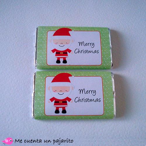 Chocolatina de felicitación de Navidad papá Noel